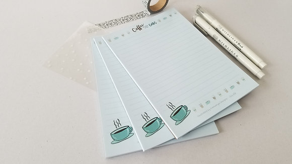 Coffee Cups and Mugs Lined Paper Notepad 5x7