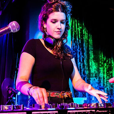 Emily Cooper at a DJ gig