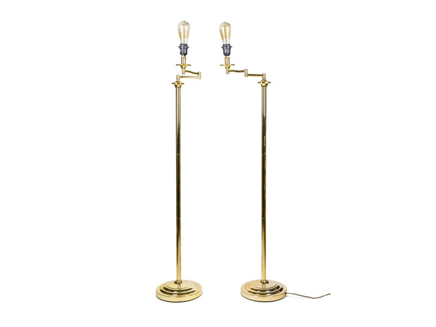 Vintage Gold Floor Lamps With Edison Bulbs