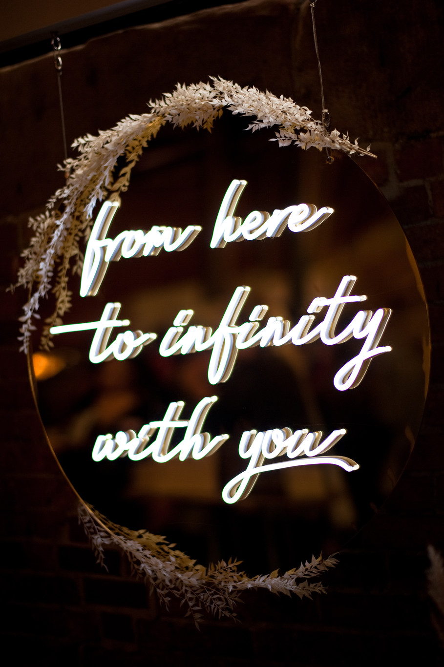 'From Here To Infinity With You' Gold Mirror Neon Sign