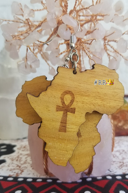 Wakanda Wooden Africa Earring Collection: Ankh