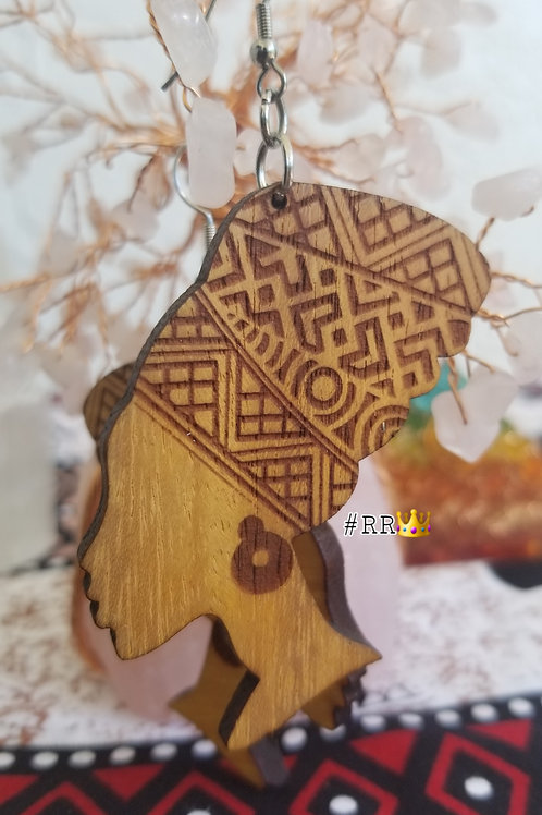 Wakanda Wooden Africa Earring Collection: Nefertiti