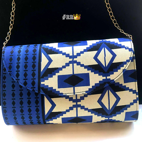 African Print Crossbody Clutch:Blue