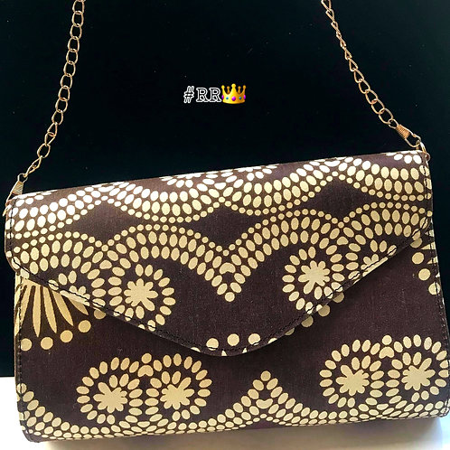 African Print Crossbody Clutch: Brown