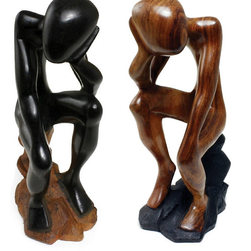 African Thinker Statue on Stool