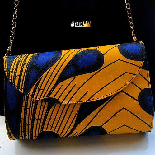 African Print Crossbody Clutch: Yellow