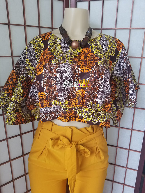 African Print Crop Top: Brown
