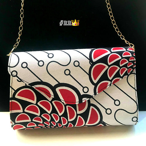African Print Crossbody Clucth:White