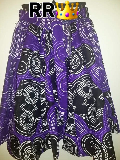 African Print Mid Length Skirt: Purple