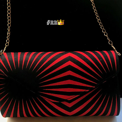 African Print Crossbody Clutch: Red