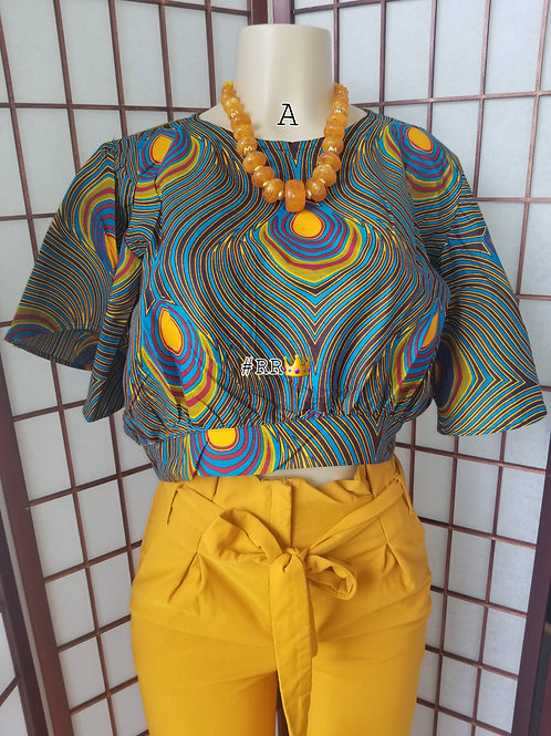 African Print Crop Top: Gold