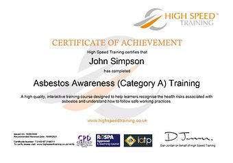 Asbestos Certificate for Dun-N-Dusted Rubbish Removals NE
