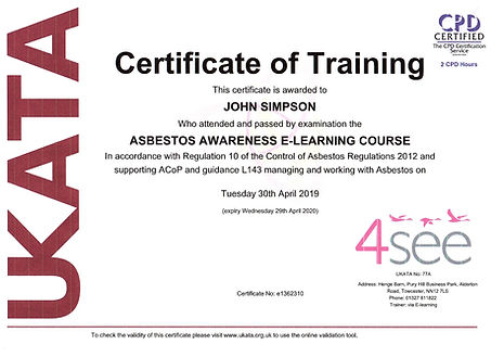 UK Certificate of Training _ Asbestos Awareness - John Simpson