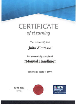 Certificate of eLearning - Manual Handeling - John Simpson