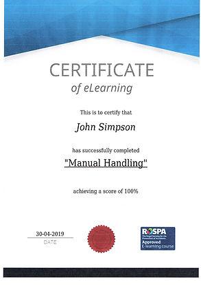 Certificate of eLearning - Manual Handeling - John Simpson