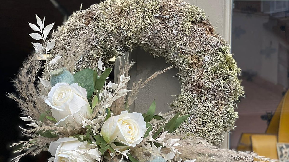 White Rose and Poppy Wreath