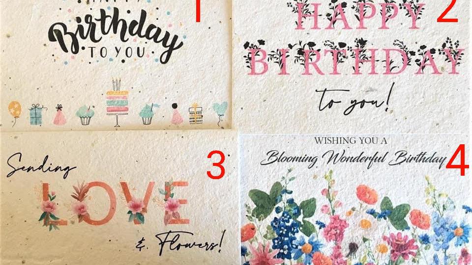 Seeded Paper Birthday Greetings Card
