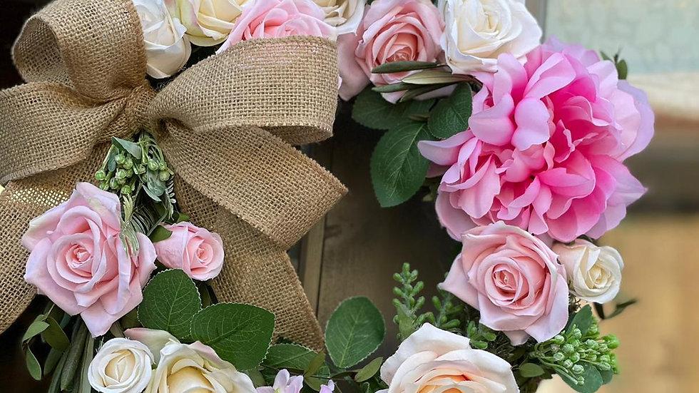 Floral Pink Rose Wreath