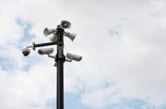 stock-photo-84527931-security-cameras-and-speakers-mounted-on-the-outdoor-pole