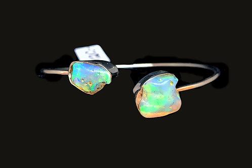 Ethiopian Opal Bracelet Flexible Cuff