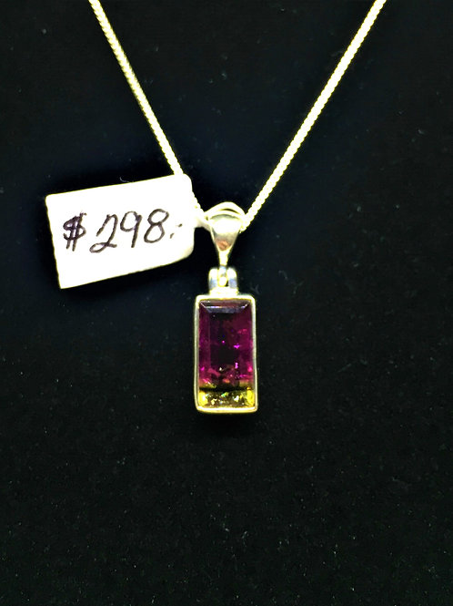 Faceted BiColor Tourmaline Pendant