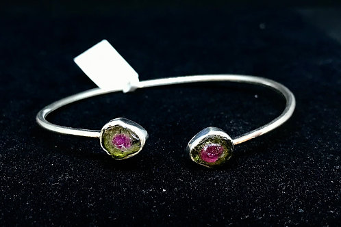 Watermelon Tourmaline Flexible Cuff Bracelet