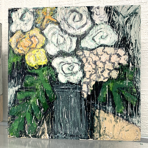Andrea Love Painting - Flowers in Gray Vase