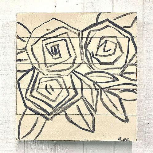 A. Love Black Flowers on Cream