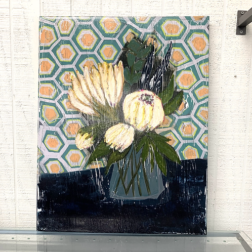Andrea Love Painting - Protea Bouquet in Vase / Geometric Background