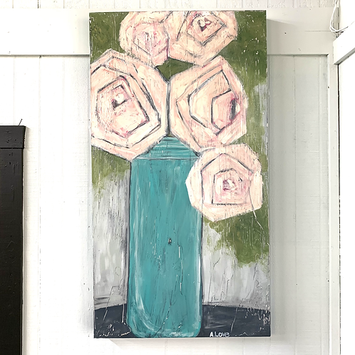 Andrea Love Painting - Pink Bouquet in Blue Vase