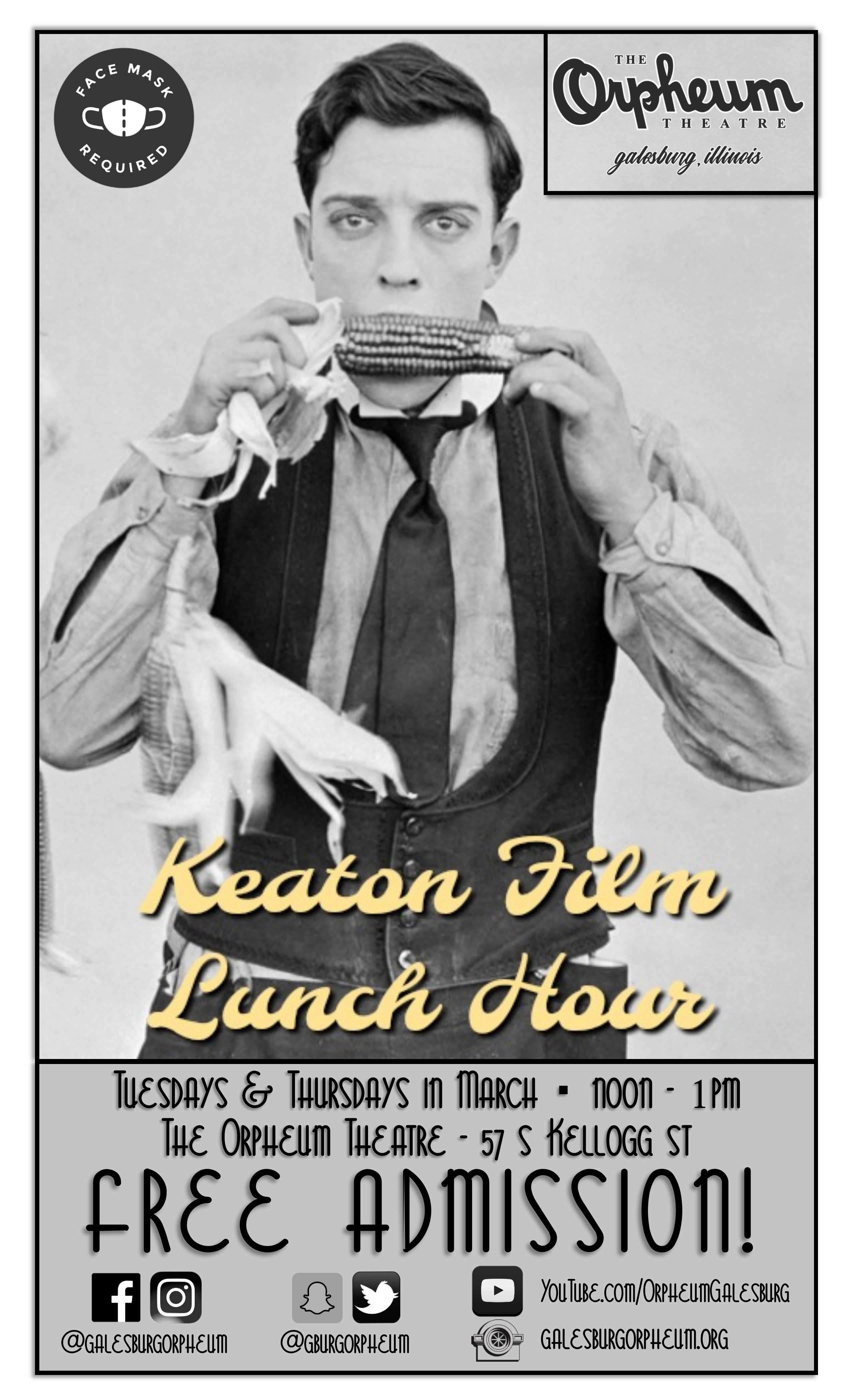 Keaton Film Lunch Hour - FREE ADMISSION