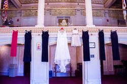 Dresses hanging form the Mezzanine