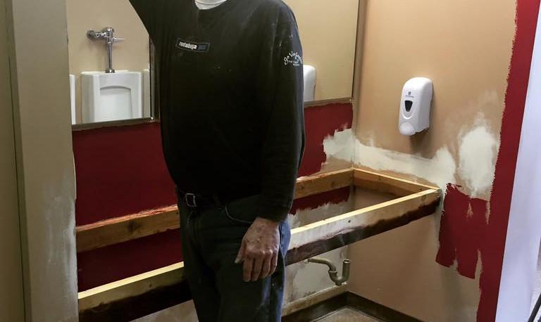 Gary Morgan redoing mezzanine men's room