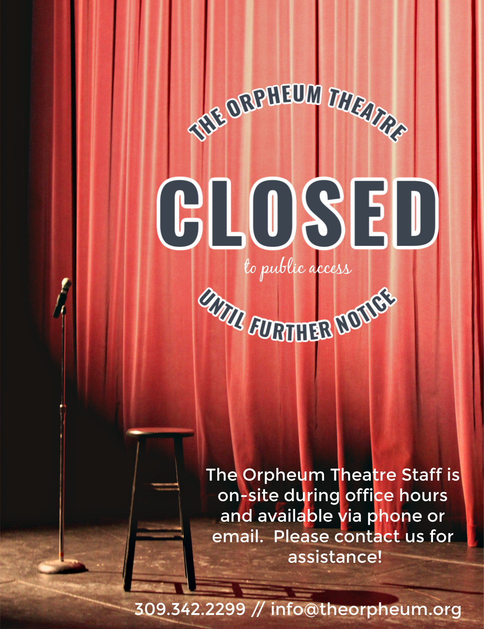 The Orpheum Theatre is closed to public access until further notice.