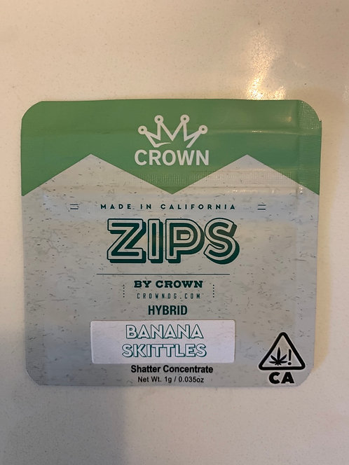 Banana Skittles 1g Shatter by Zips — 75.943%