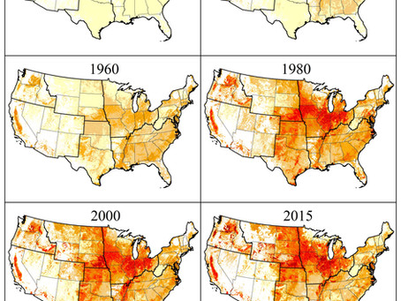 Time series data of nitrogen fertilizer use in the US from 1850 to 2015