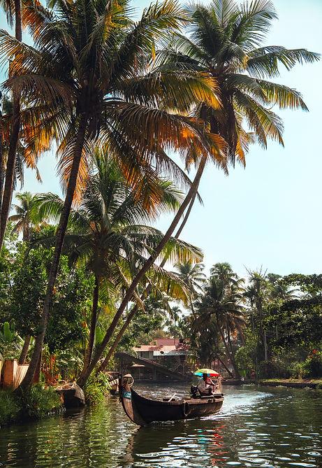 Kerala-backwaters-barque-homme-parapluie
