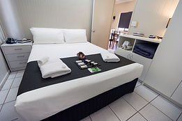Affordable family holiday accommodation in ouyr two bedroom apartment style cabins. Self contained cabin in Darwin. Cheap home away from home in the Leprechaun Resort. Hotels in Darwin