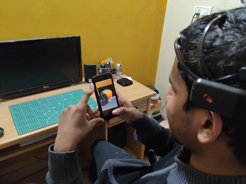 A user interacting with the application