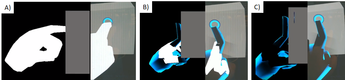 We present a visual-haptic feedback system to provide psycho-physical responses to touching virtual objects without the need of physical peripherals. A) Our tracked hand pushing into a virtual cube has no feedback other than the smaller surface cue. B) By instead capturing the point and rendering a new finger placed using IK along the surface, C) we provide a visual haptic feedback event, as if the real hand was pushed against a physical surface.