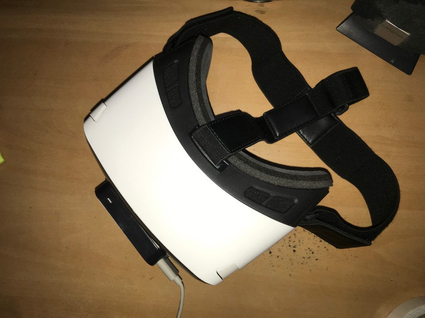 Top view of Zeiss One Plus HMD with the Leap Motion mounted.
