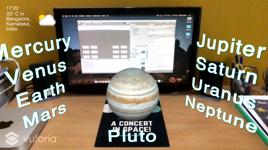 Interactive 3D menu of the planets application