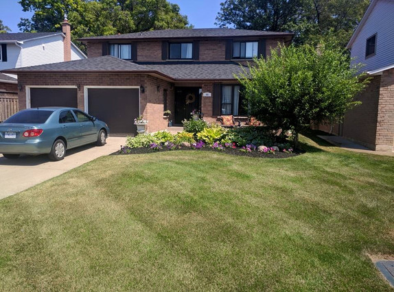 large front yard after landscapers in on