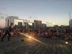 Sword swallowing at the prestigious Halifax festival.