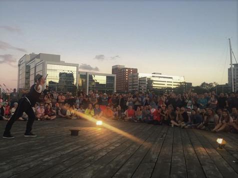 Sword swallowing at the prestigious Halifax festival.