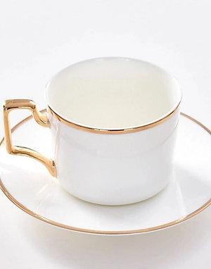 Luxury European Hand Painted Gold Rim & Handle White Tea Cup with Saucer