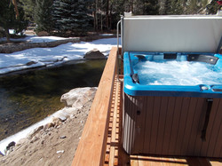 Private, LED lighted hot tub.