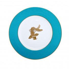 Tinsley Mortimer Koi Dinner Plate Aqua