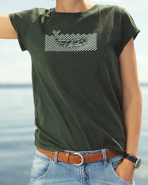 "T-shirt Rolled Sleeve ""Waves"" Green"
