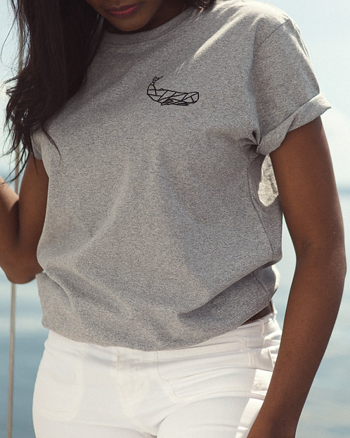Rolled sleeve T-shirt grey